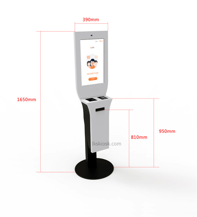 New! 19 Inch Touch Display Self Service Kiosk Floor Stand With ID Card/Passport Reader